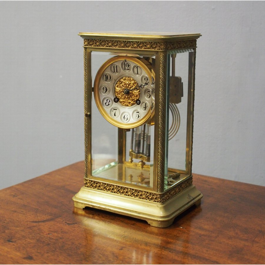 Victorian Brass and Glass Mantel Clock