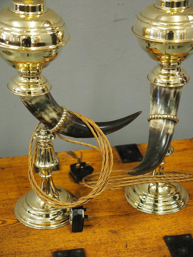 Antique Pair of Bovine Horn and Brass Lamps