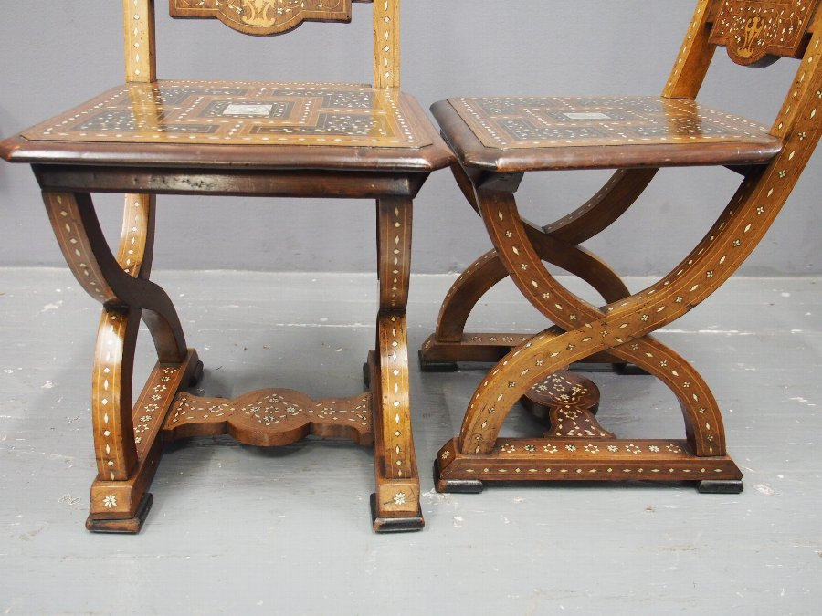 Antique Pair of Italian Renaissance Style Hall Chairs