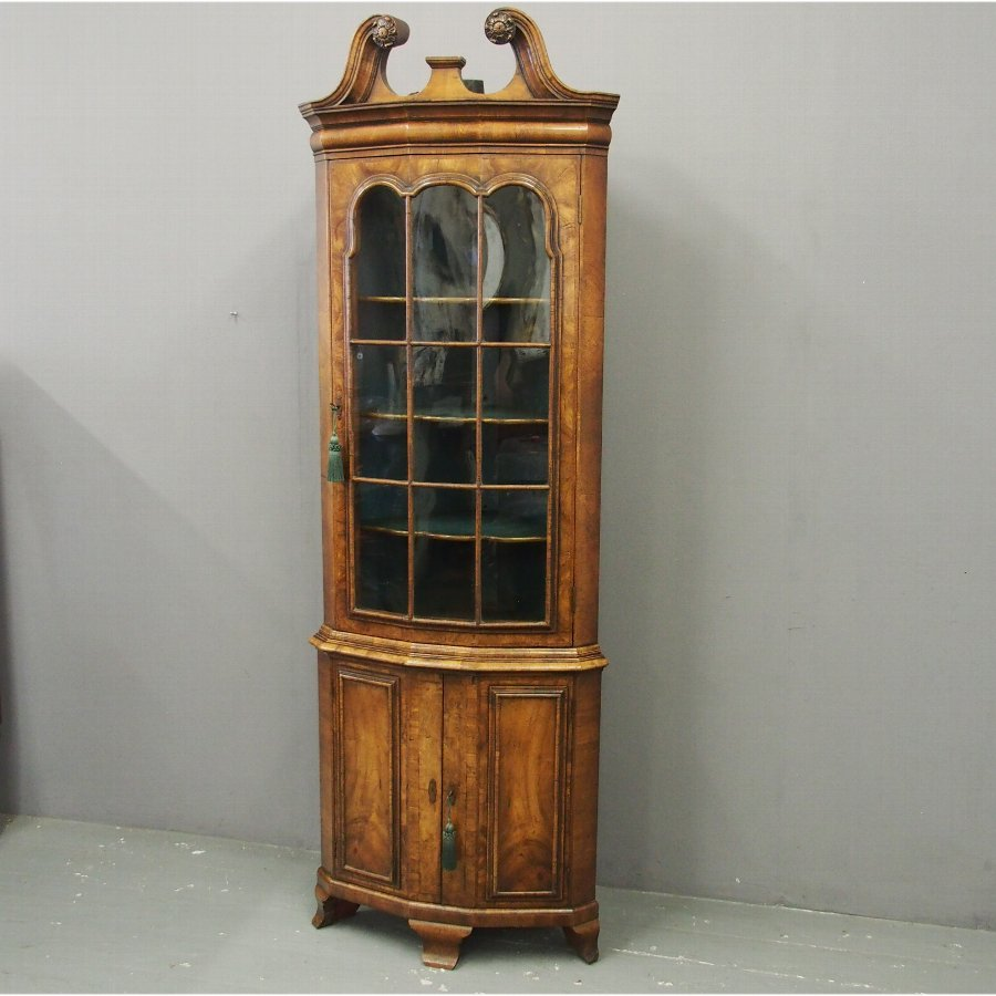 Georgian Style Walnut Corner Cupboard