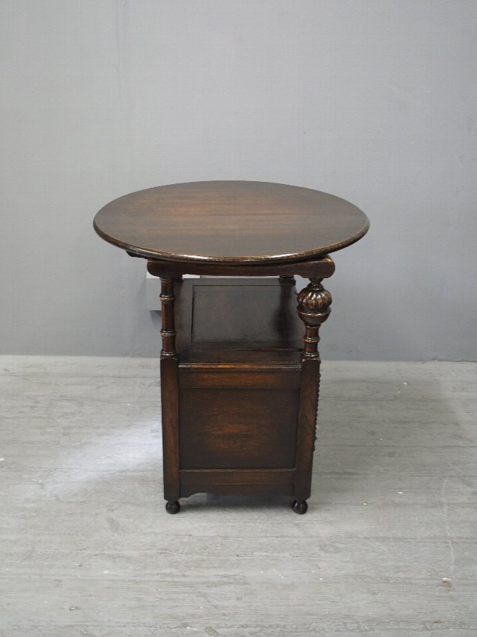 Antique Oak Circular Top Monks Bench