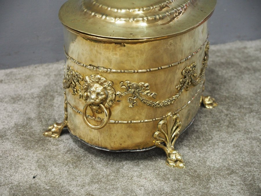 Antique Neoclassical Style Brass Log Bin