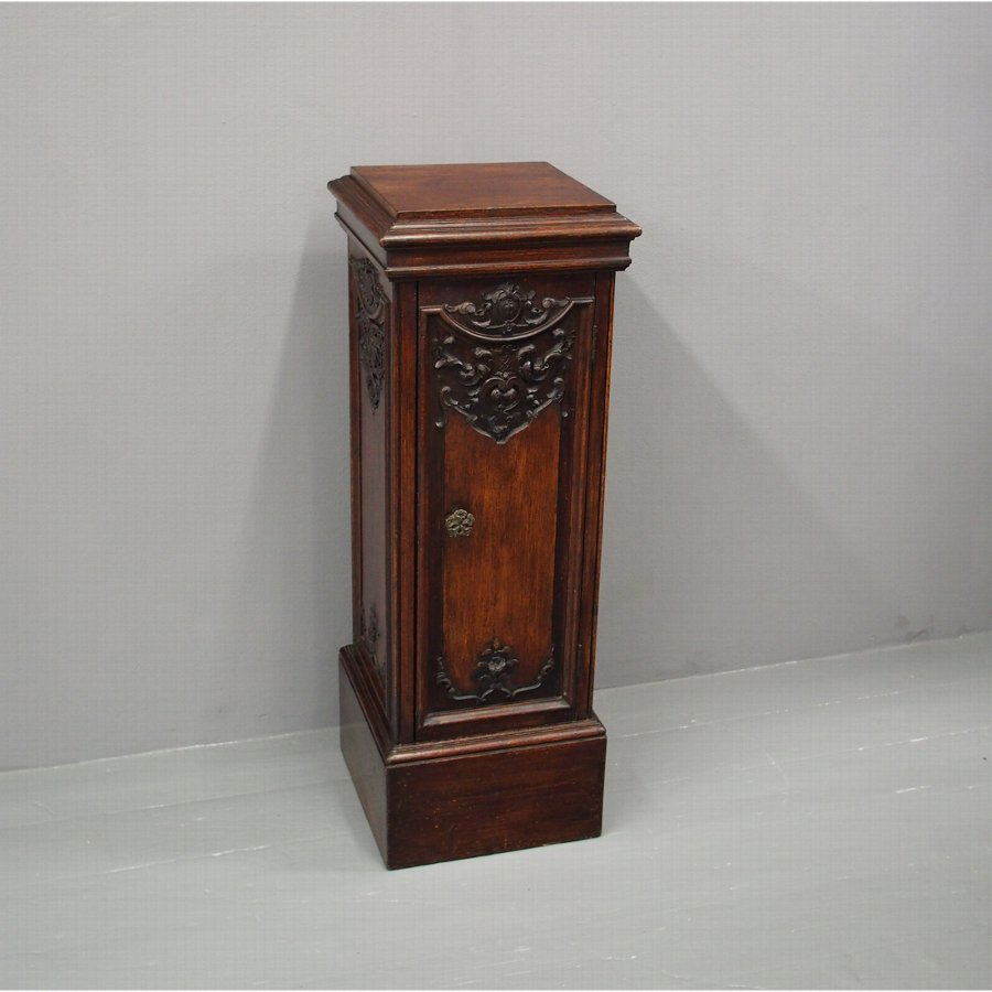 Victorian Carved Oak Pedestal or Cupboard