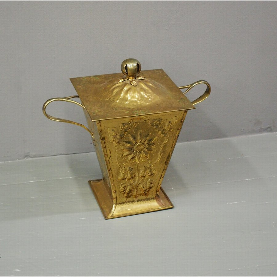 Brass Art Nouveau Coal Box