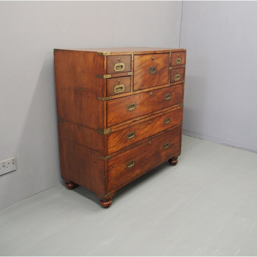 Campaign Secretaire Chest by William Day and Son