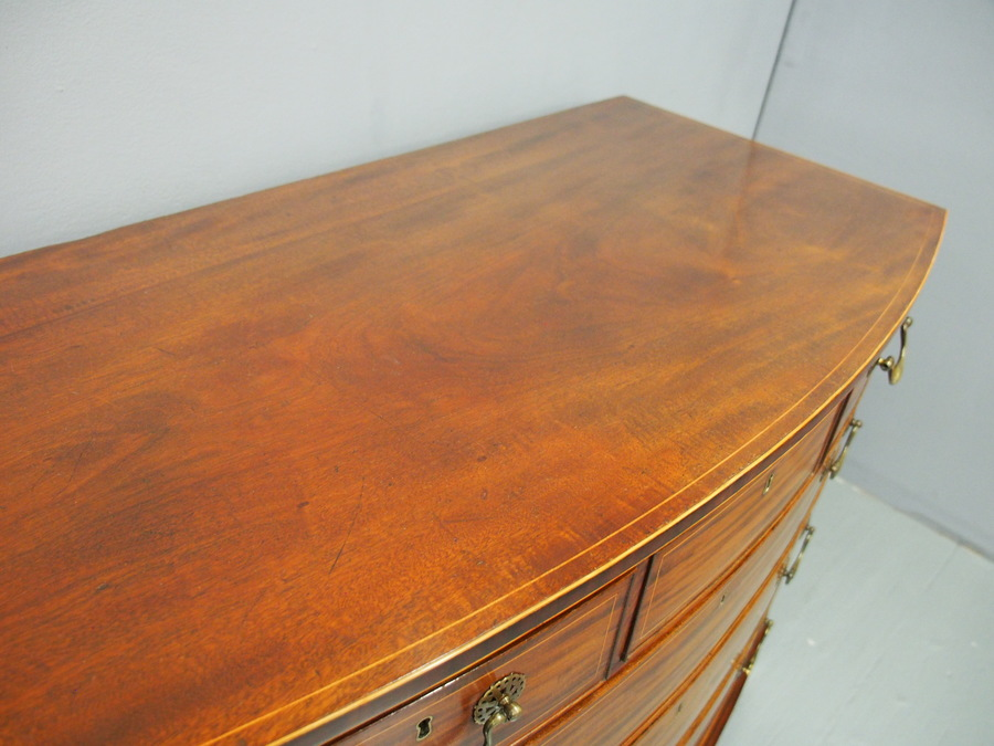 Antique George III Inlaid Mahogany Bow-front Chest of Drawers