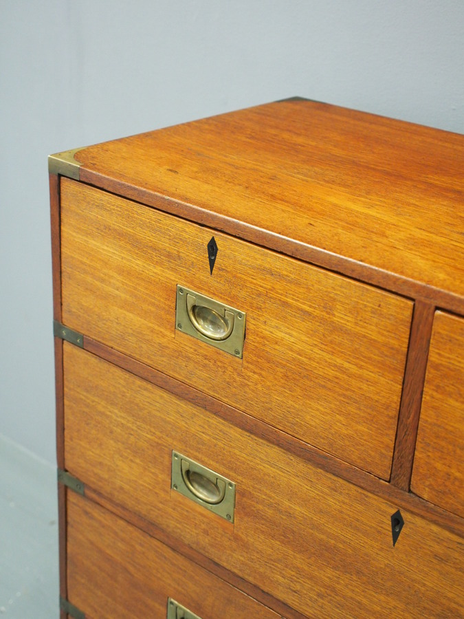 Antique Victorian Teak Two Part Military Chest of Drawers