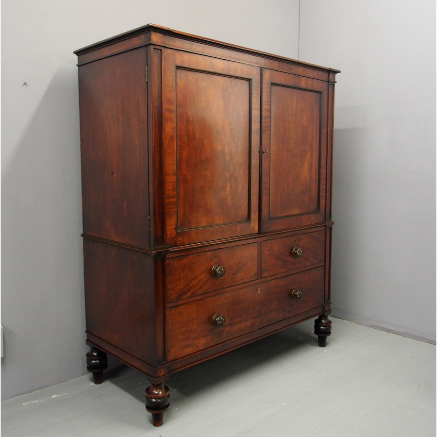 George III Neat Mahogany Linen Press