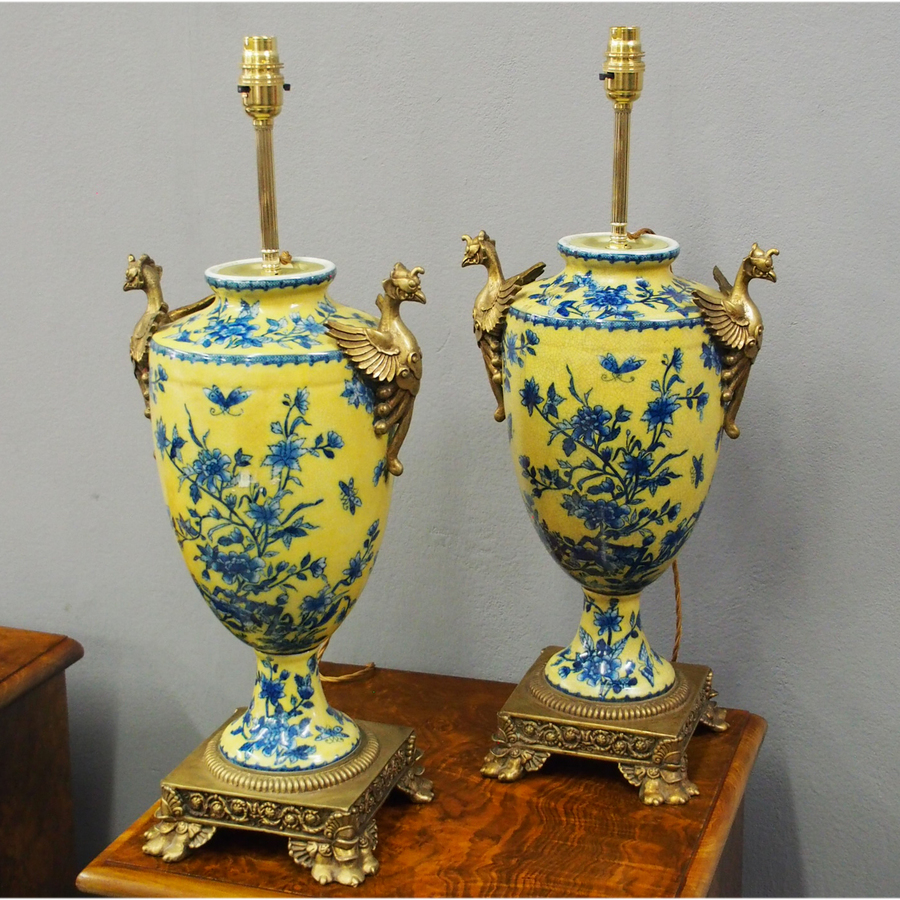 Pair of Yellow and Blue Floral Glazed Lamps