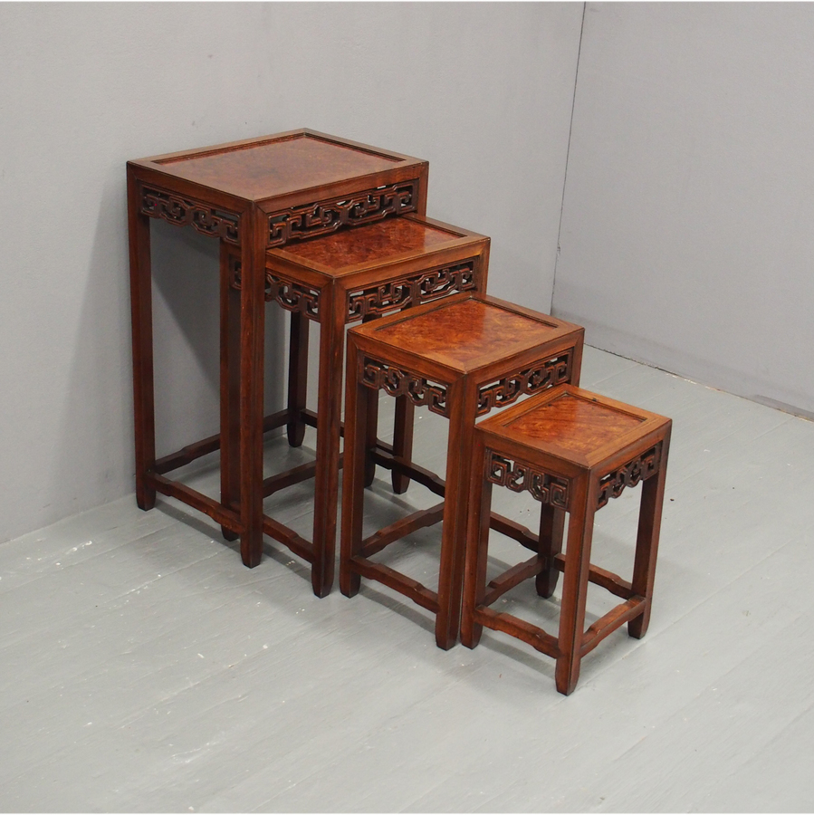 Nest of 4 Chinese Hongmu and Burrwood Tables