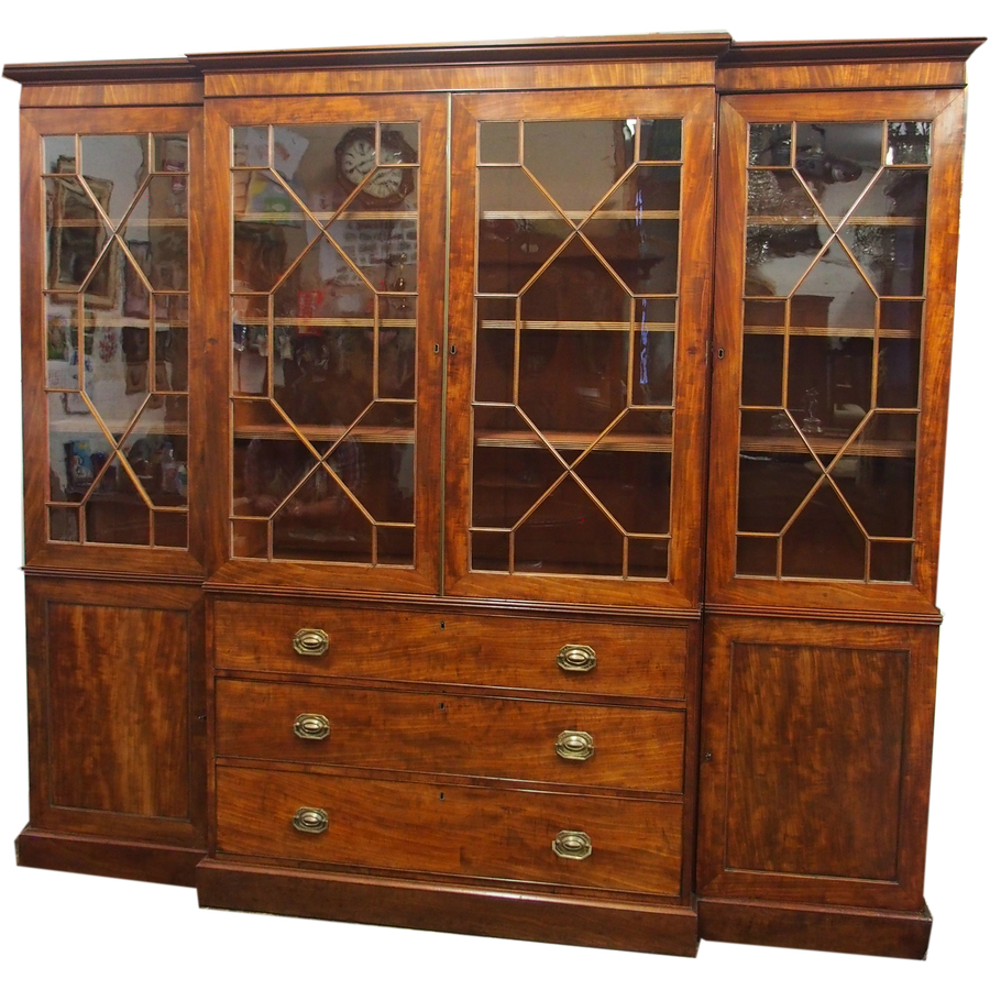 George III Style Mahogany Breakfront Bookcase