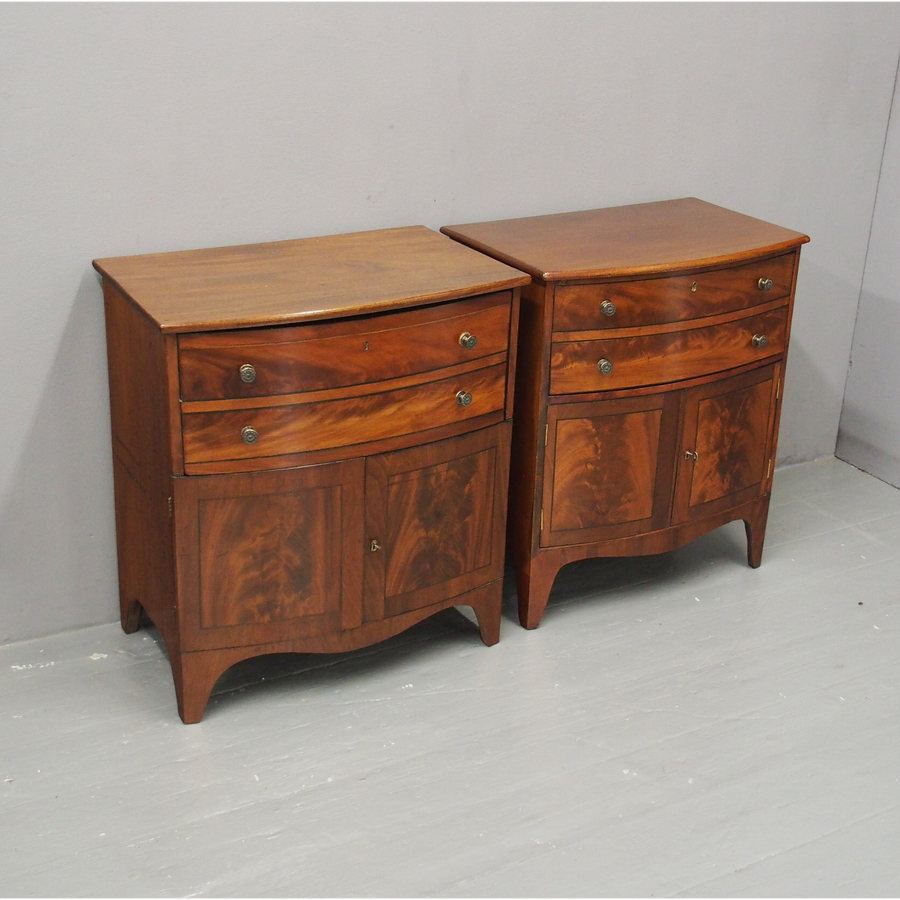 Pair of George III Mahogany Bowfront Cabinets