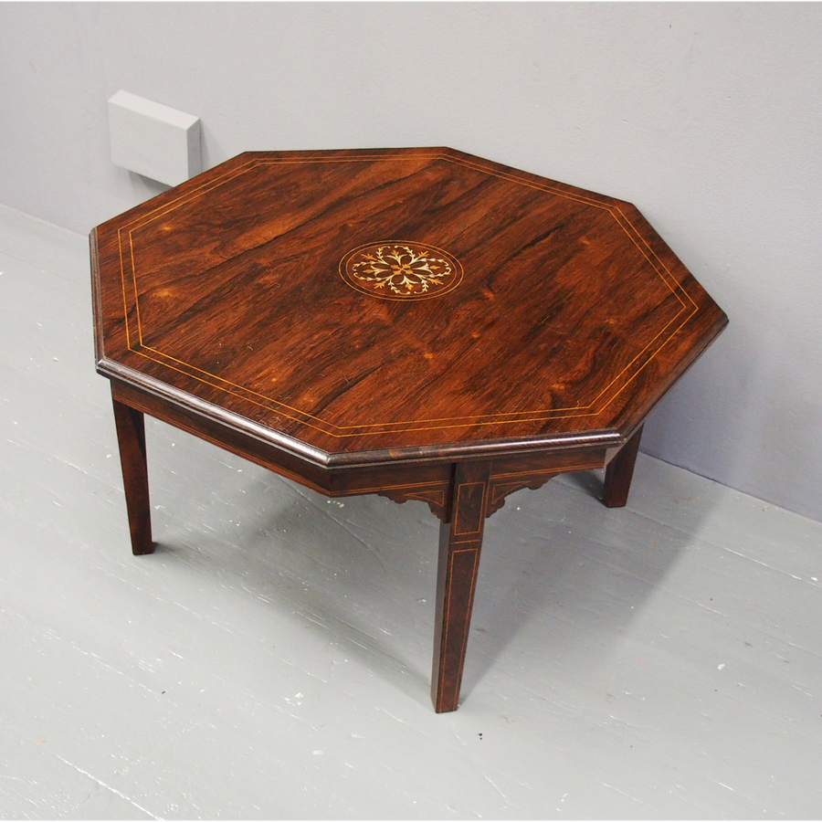 Octagonal Inlaid Rosewood Coffee Table