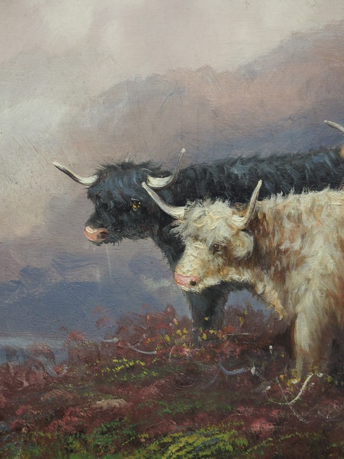 Antique Oil Painting of a Scottish Highland Scene by F Walter
