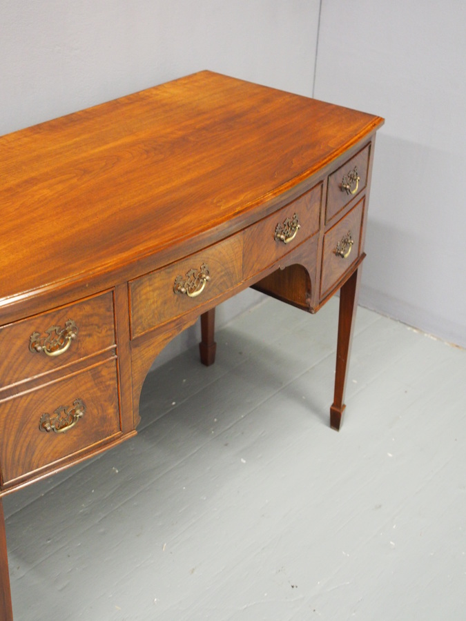 Antique Georgian Style Walnut Bow Front Side Table