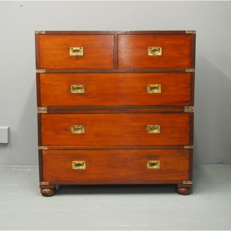Victorian Teak Military Chest of Drawers