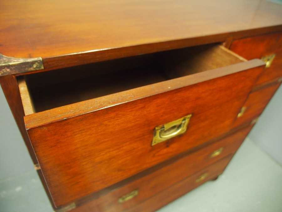 Antique Victorian Teak Military Chest of Drawers