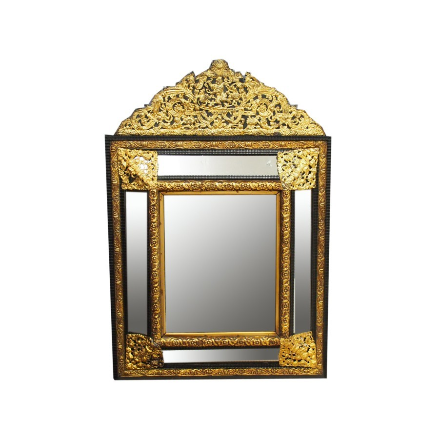 Flemish Brass and Ebony Wall Mirror