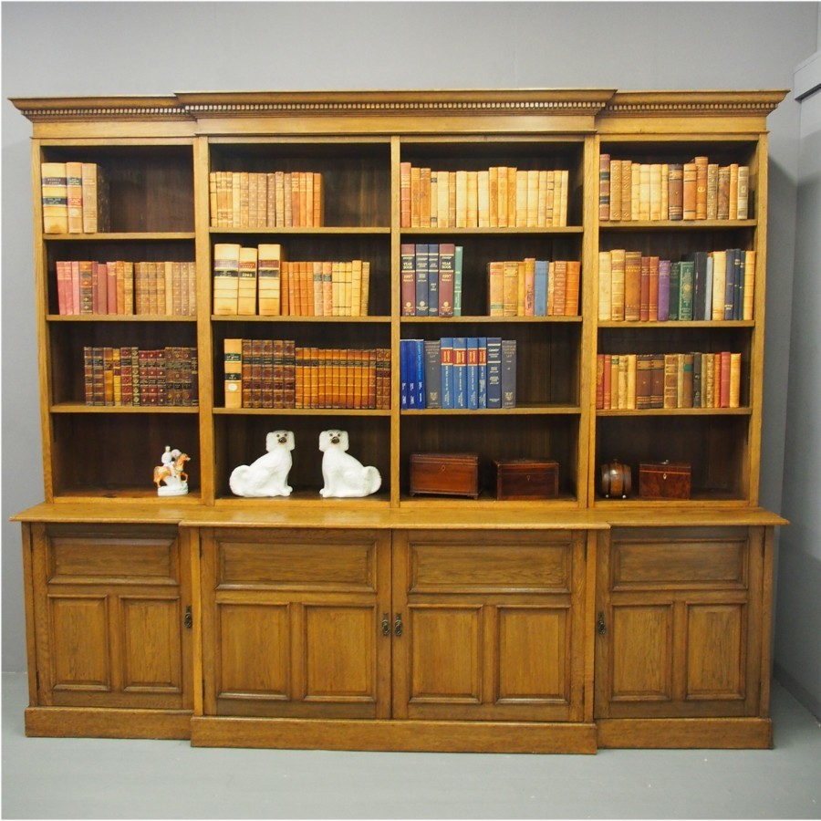 Arts and Crafts Influence Breakfront Open Bookcase