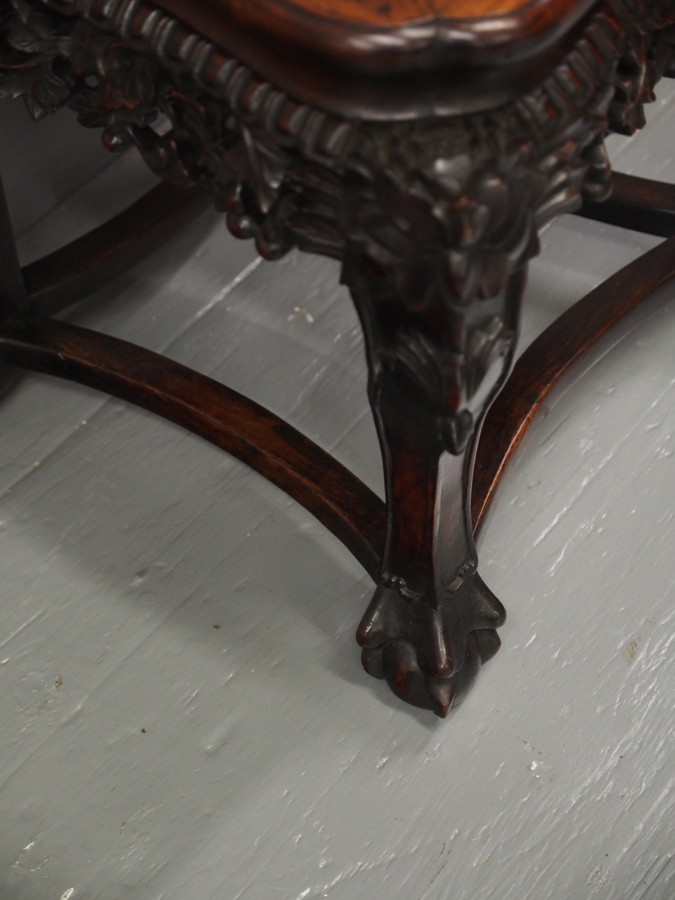 Antique Chinese Marble and Rosewood Plant Stand