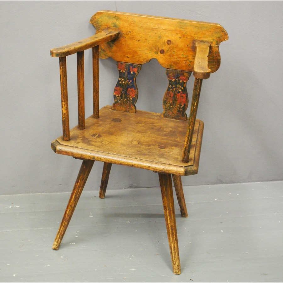 Scandinavian Pine and Oak Painted Armchair