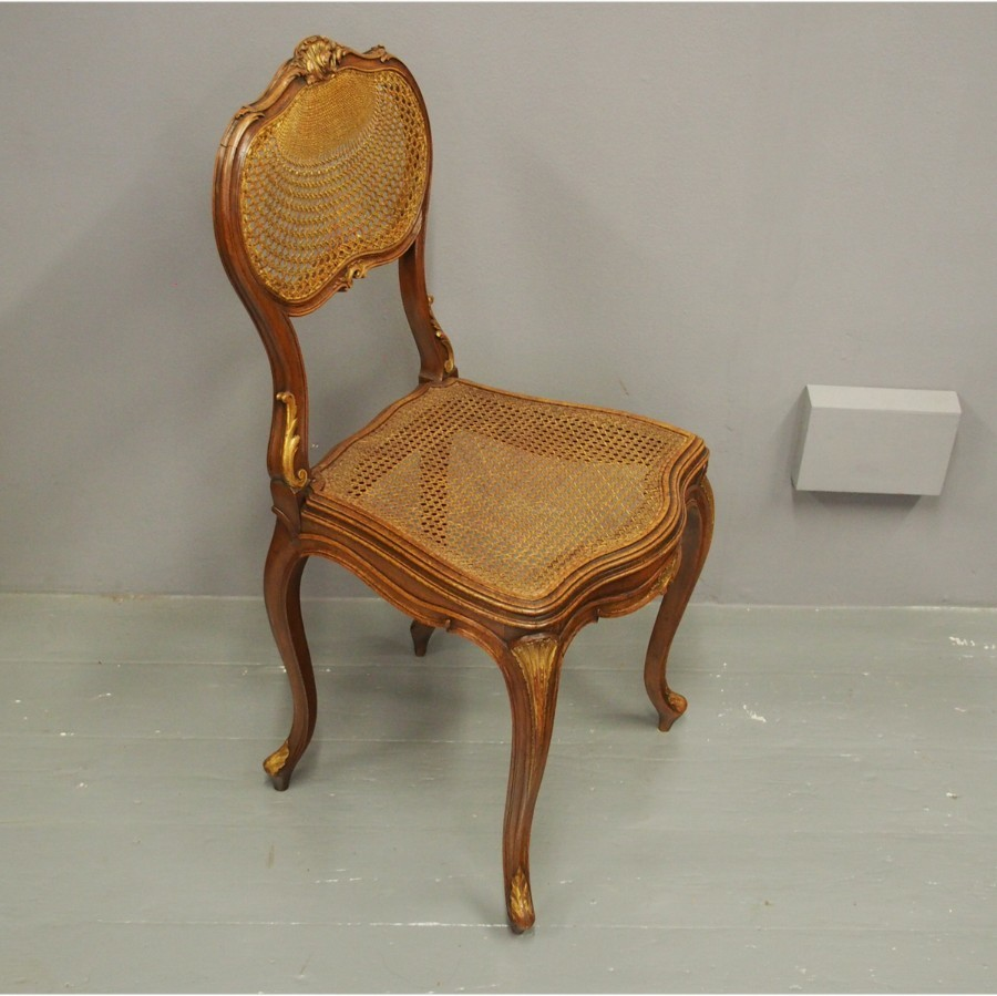 French Walnut and Bergere Occasional Chair or Bedroom Chair