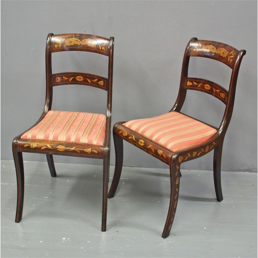 Pair of Dutch Marquetry Side Chairs