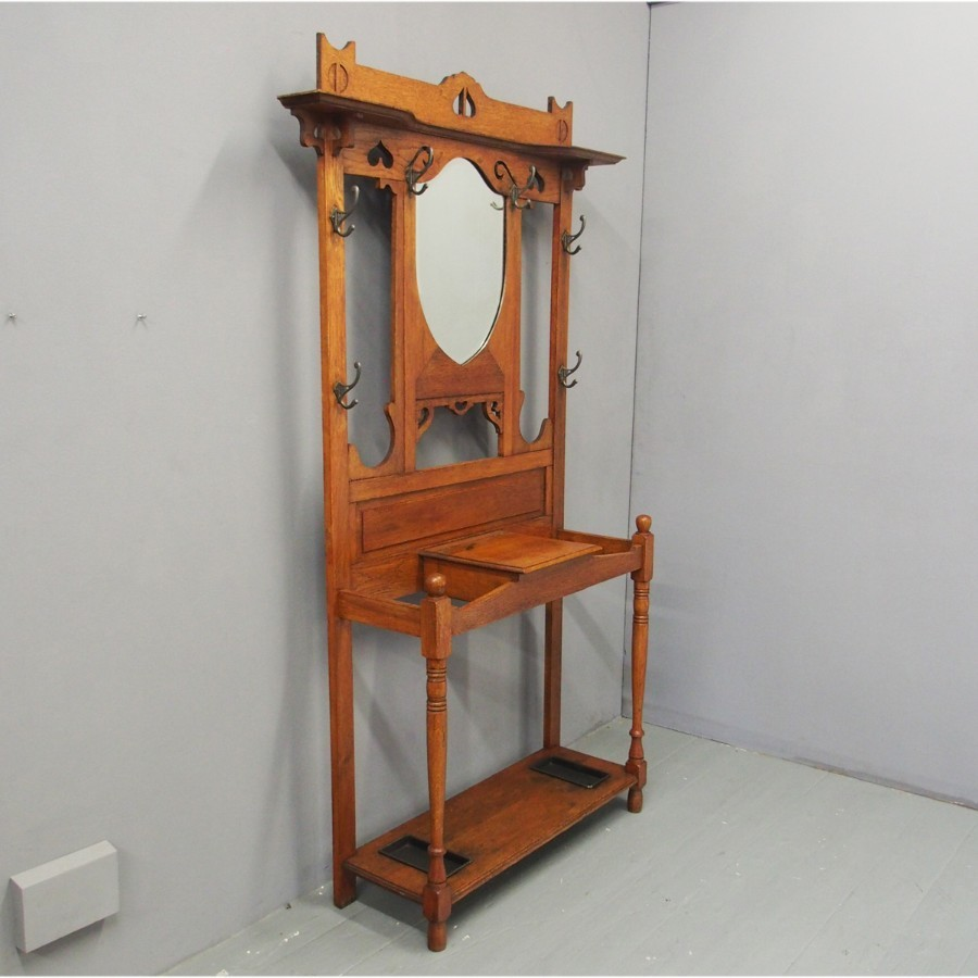 Art Nouveau Oak Mirror Back Hall Stand