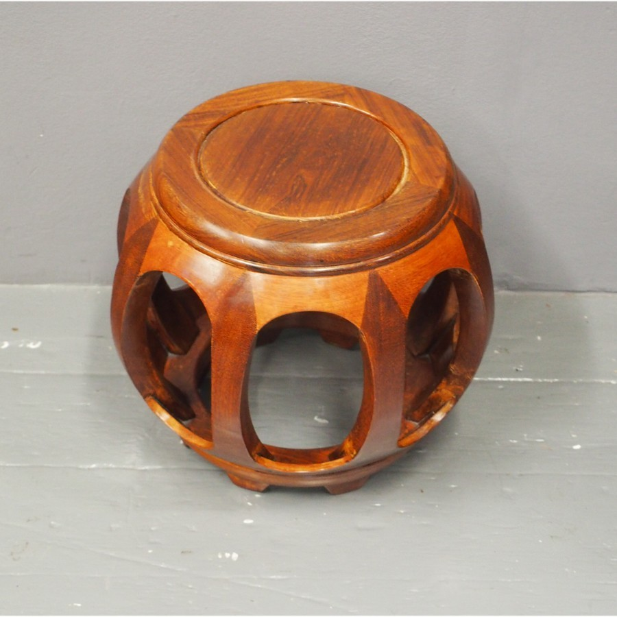 Chinese Hardwood Drum Shape Stool