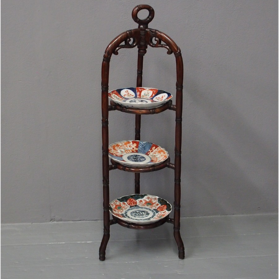 Chinese Carved Hardwood Cake Stand or Plant Stand