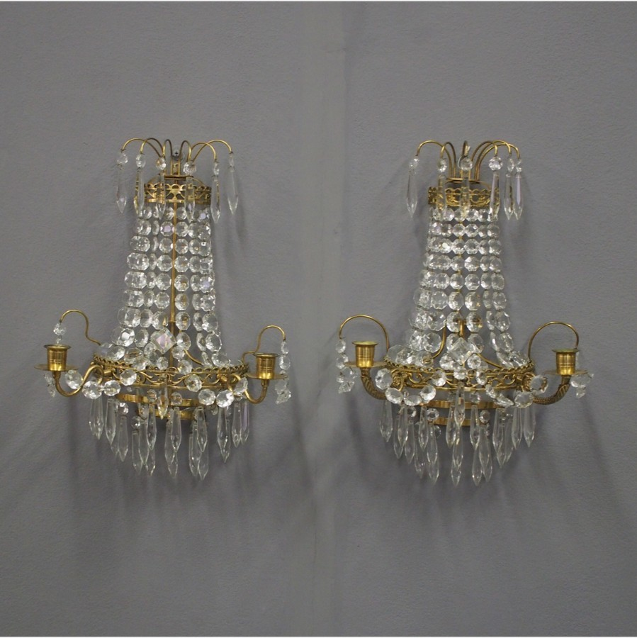 Pair of Victorian Brass and Cut Crystal Wall Sconces