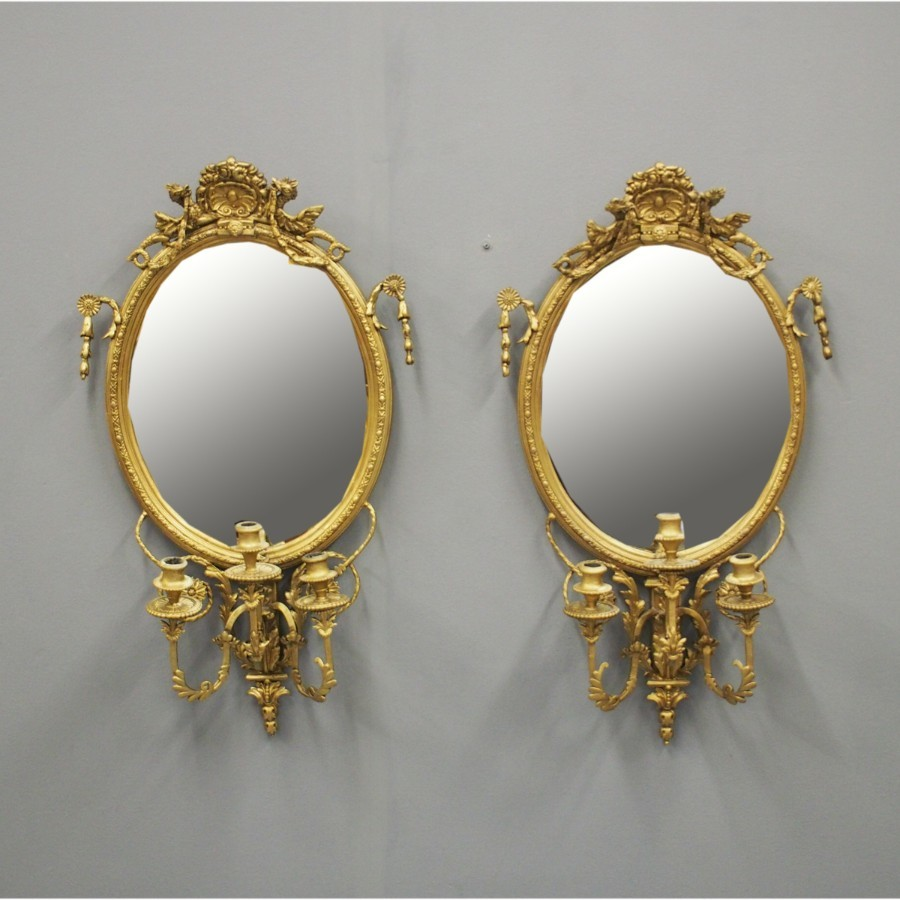 Pair of 19th Century Giltwood and Gesso Girandole Mirrors