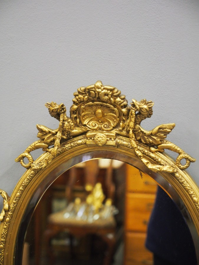 Antique Pair of 19th Century Giltwood and Gesso Girandole Mirrors