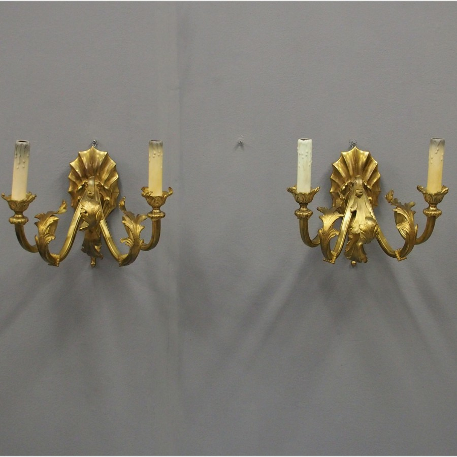Pair of Edwardian Rococo Style Ormolu Wall Sconces