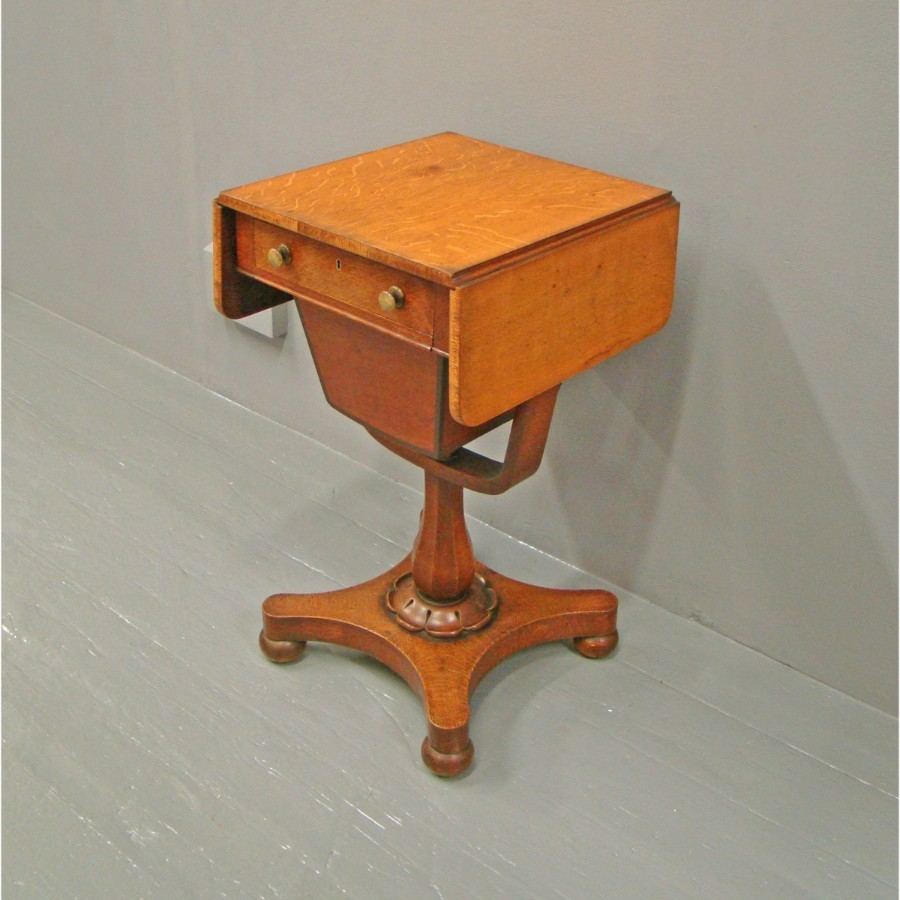 Victorian Oak Workbox or Occasional Table