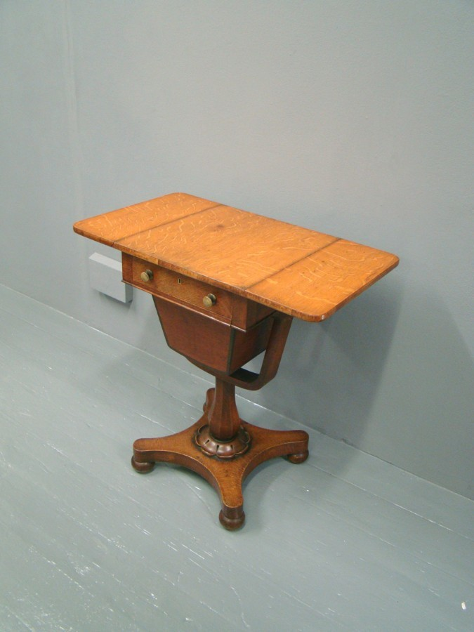 Antique Victorian Oak Workbox or Occasional Table