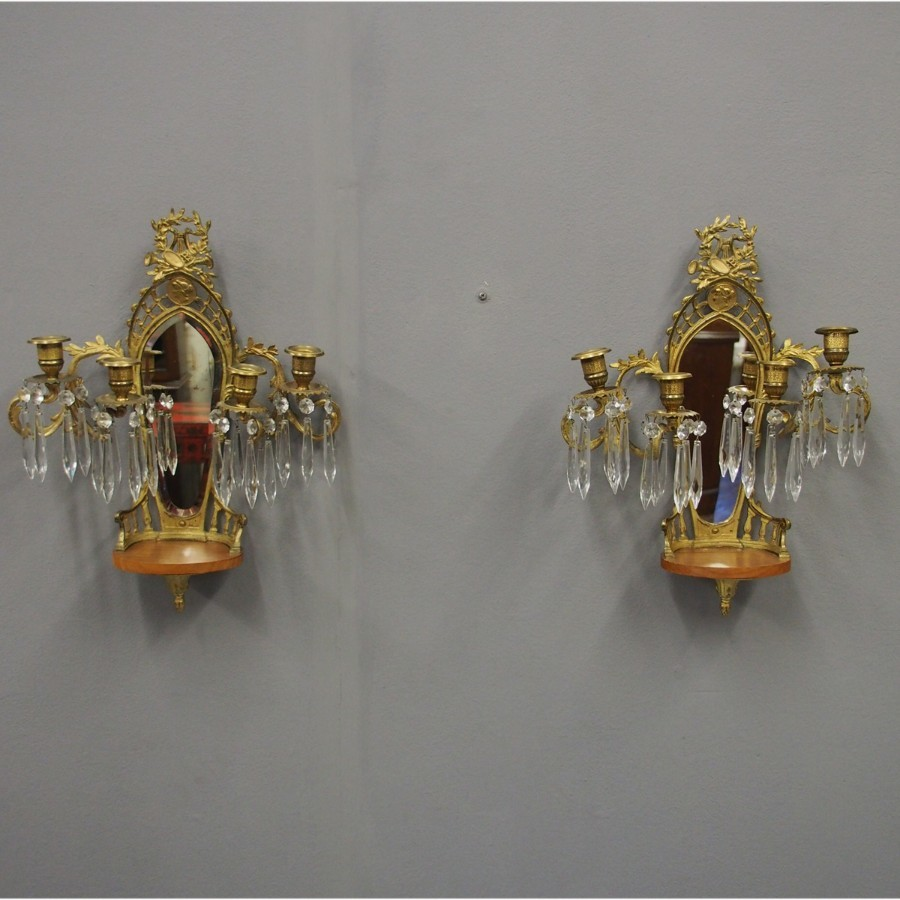 Pair of Mirrored, Ormolu and Crystal Wall Sconces