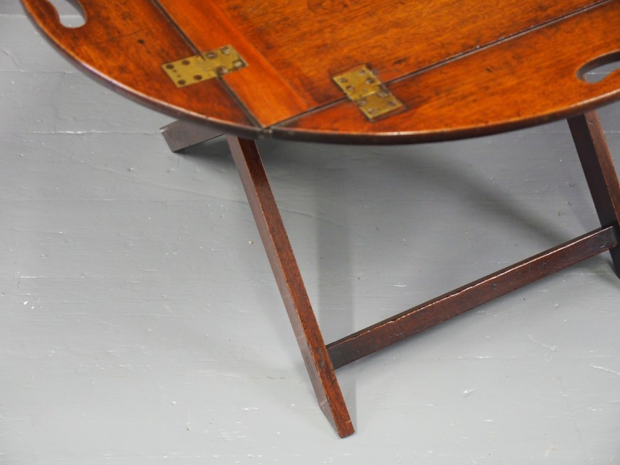 Antique George III Mahogany Folding Butlers Tray on Stand
