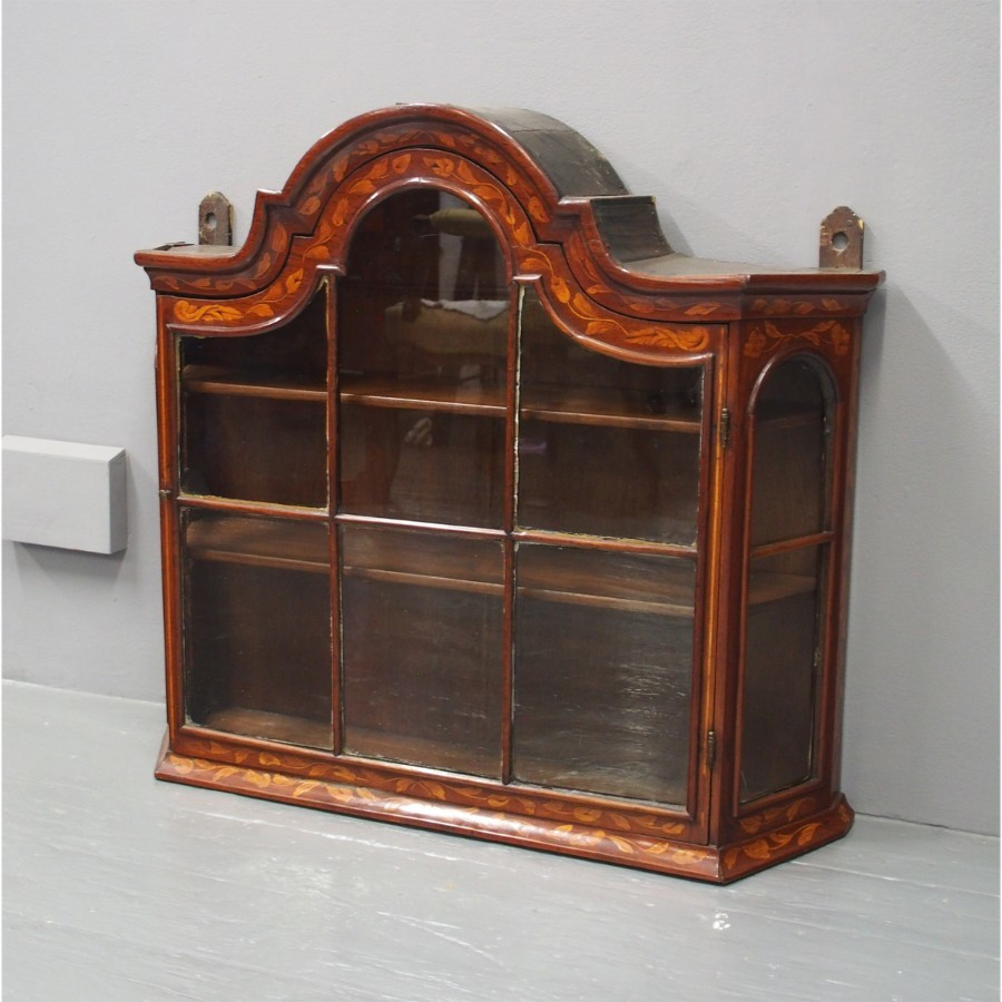 Dutch Walnut and Marquetry Wall Cabinet
