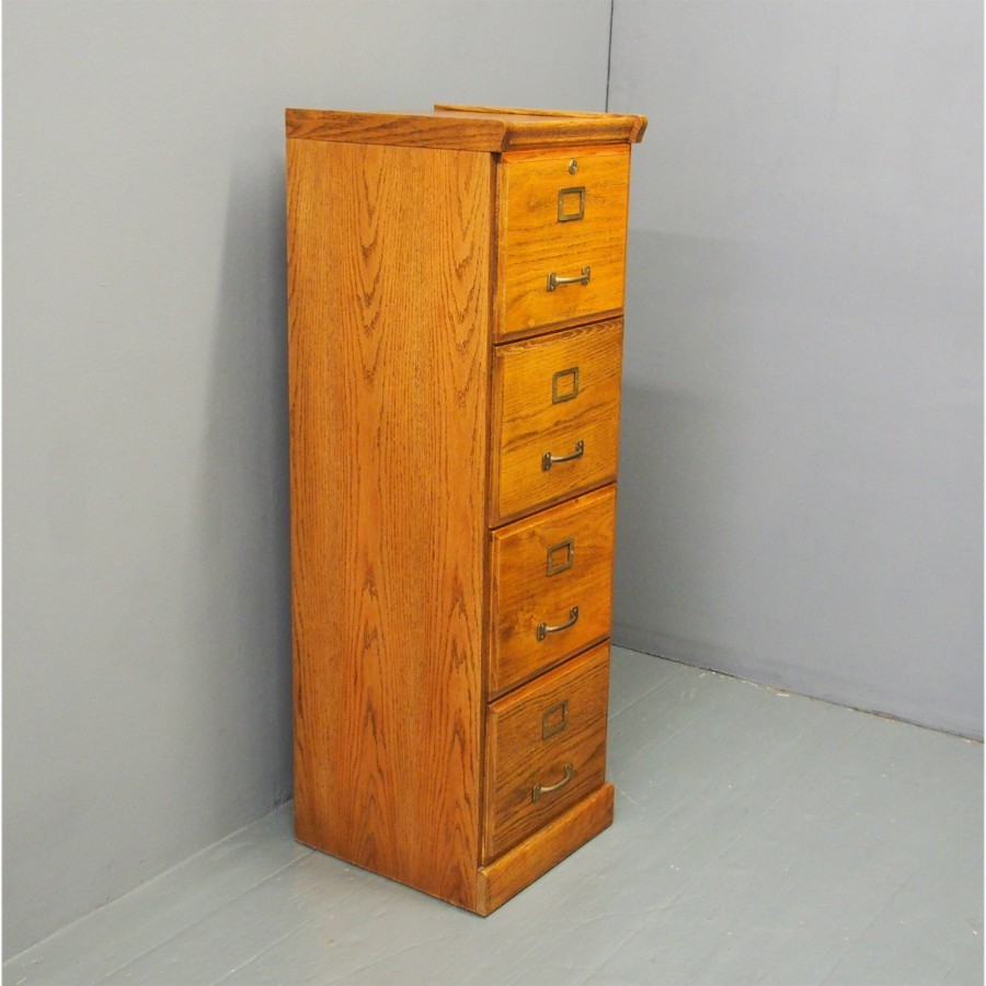 Oak 4 Drawer Filing Cabinet