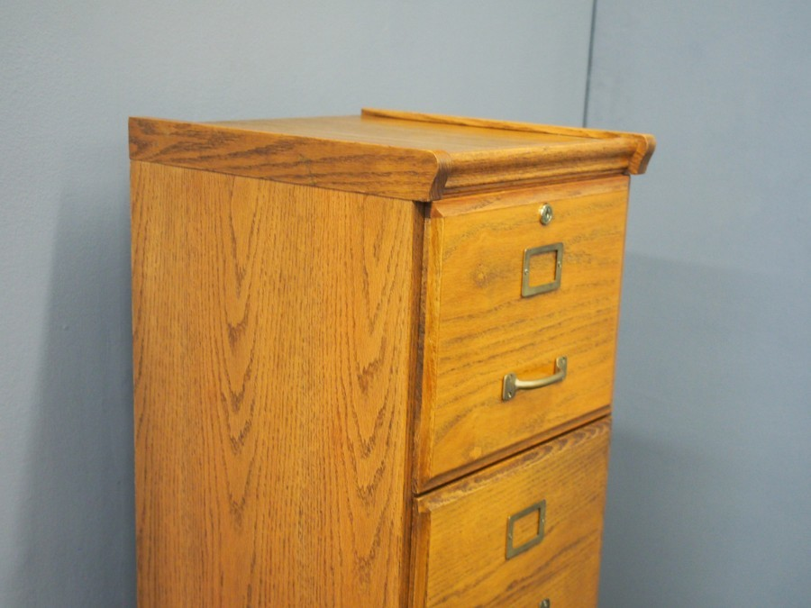 Antique Oak 4 Drawer Filing Cabinet