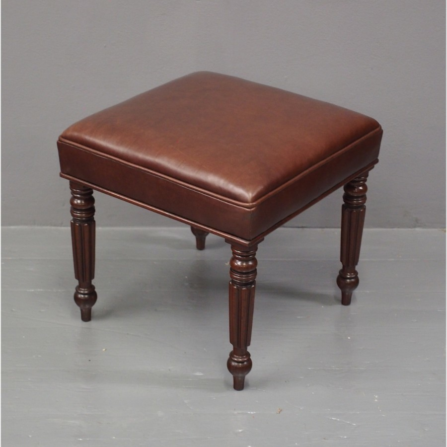 George III Mahogany and Brown Leather Stool
