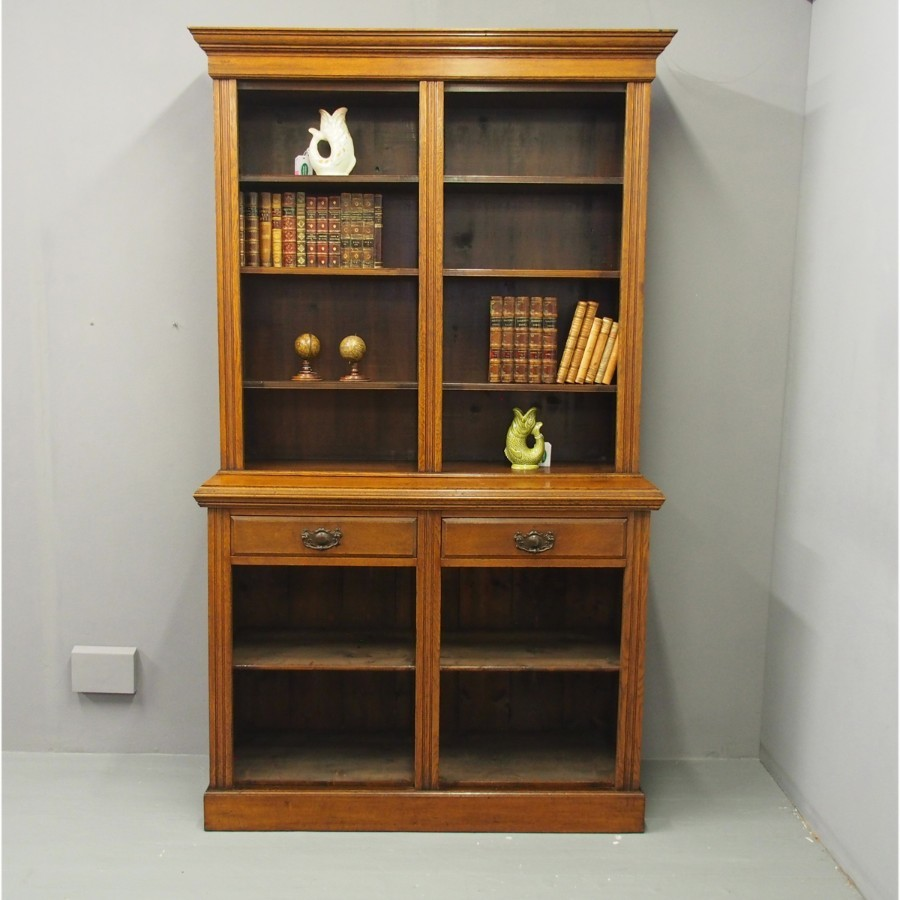 Late Victorian Oak Two Part Open Bookcase