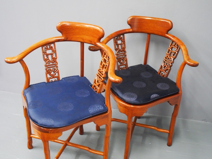 Antique Pair of Chinese Red Hardwood Corner Chairs