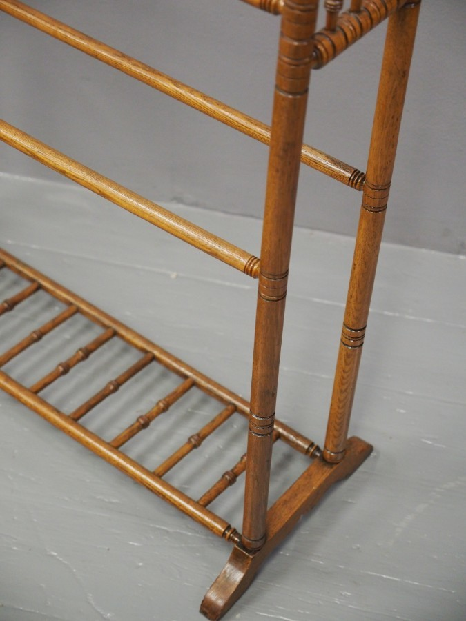 Antique Arts and Crafts Turned Ash Towel Rail
