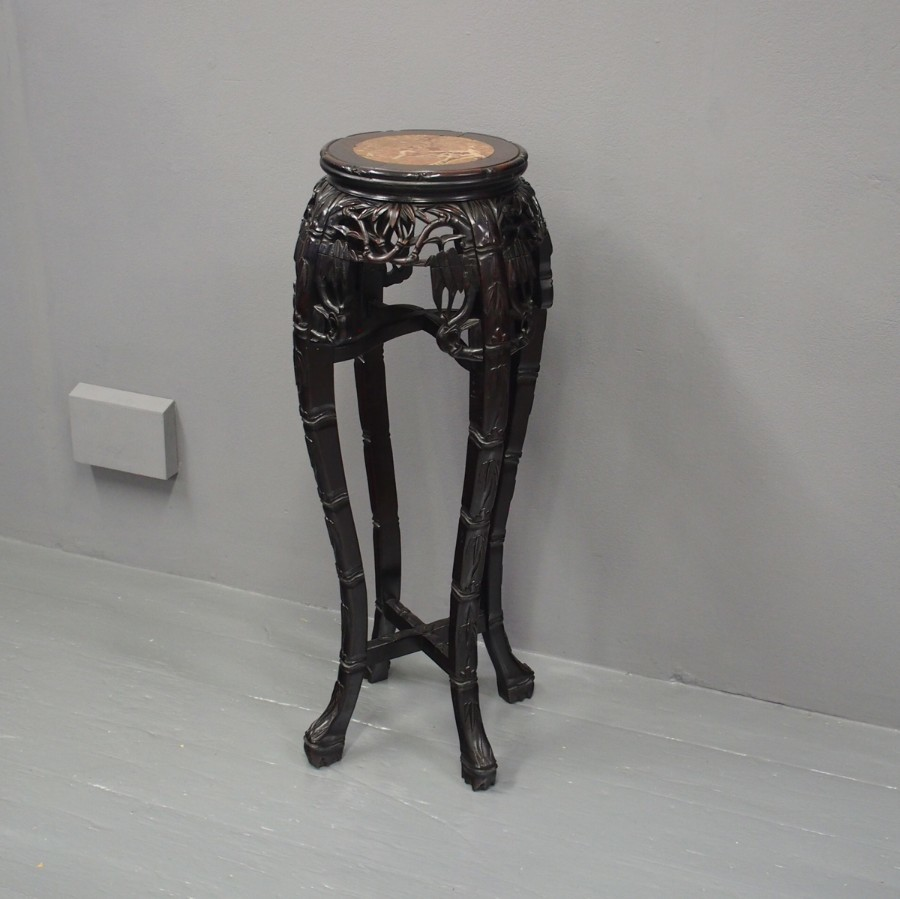Chinese Huanghuali and Marble Top Plant Stand