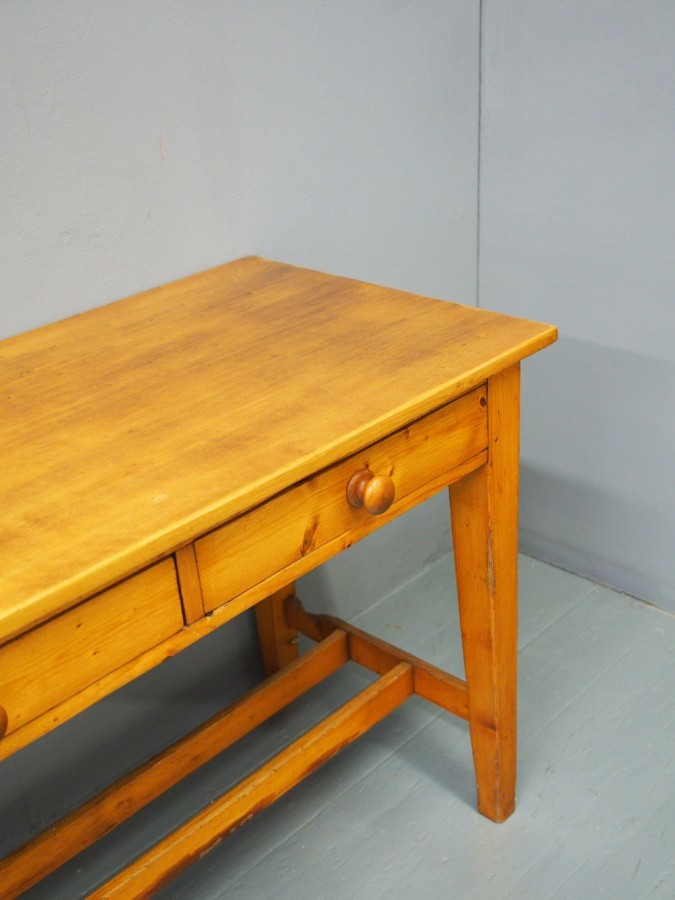 Antique Victorian Pine and Beech Kitchen or Side Table