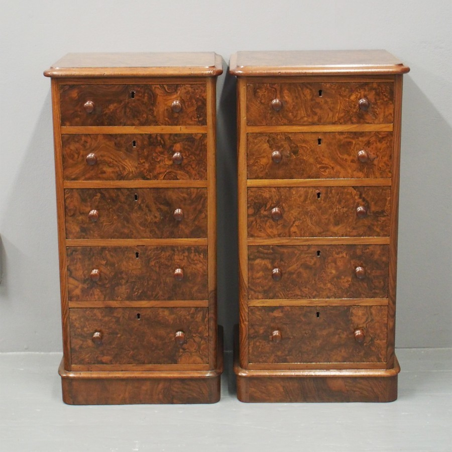 Pair of Victorian Walnut and Burr Walnut Pedestals or Bedsides