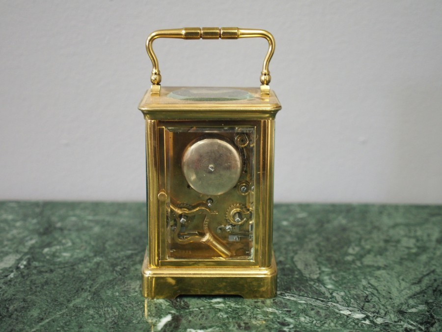 Antique French Glass and Brass Carriage Clock