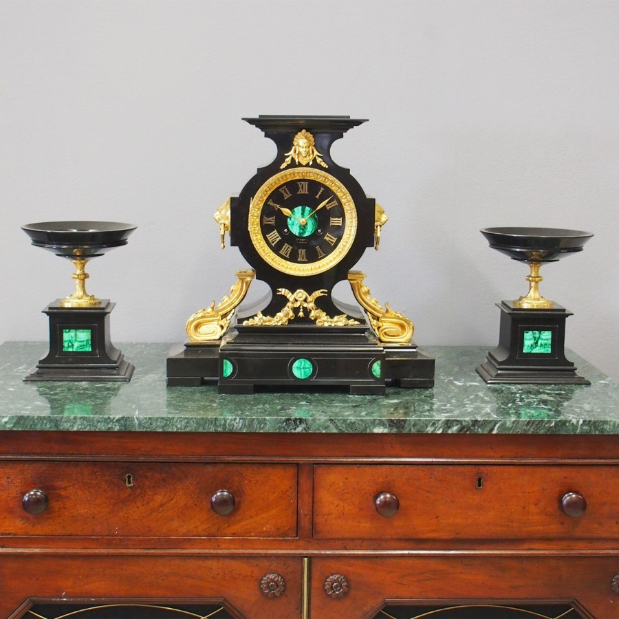 French Slate, Malachite and Gilt Bronze Clock Garniture